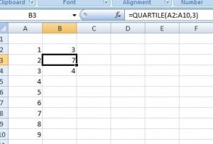 interquartile range in Excel