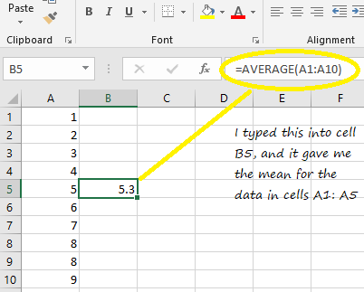Mean in Excel 2016, 2013, 2010-2007: Easy Steps - Statistics