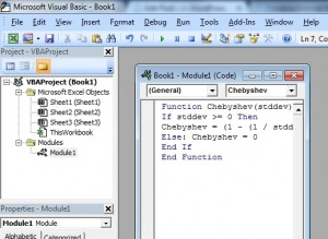 Typing the code for a Chebyschev custom function in Microsoft Excel.