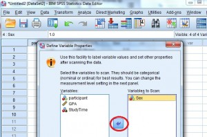 Selecting the variables to define in SPSS.