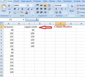 Frequency distribution table in Excel.