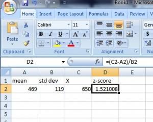 z-score in Excel