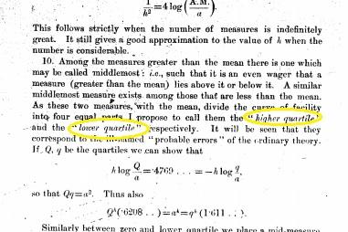 origin of the word quartile