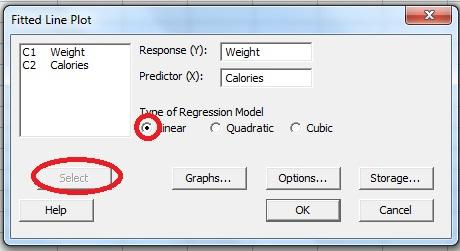 regression in Minitab
