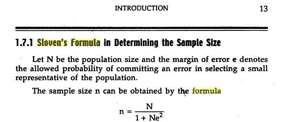 slovin's formula