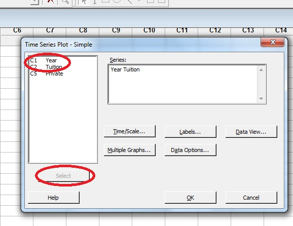 Choosing the variables you want to include in the timeplot in Minitab.