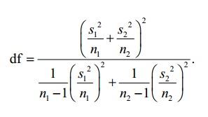 satterthwaite formula