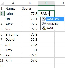 Three option drop-down box for the Excel rank function.