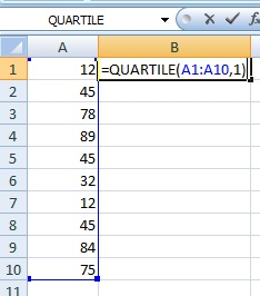 quartile function excel