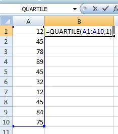 quartile function excel