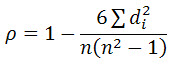 rank correlation coefficient formula
