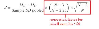 Cohen's D small-samples-formula
