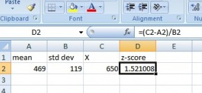 Z score definition formula and calculation statistics how to step 1 type the population mean into a blank cell for this example type 469 into cell a2 optional type the word mean as a column header in cell a1 ccuart Choice Image