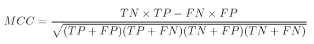 matthews correlation coefficient