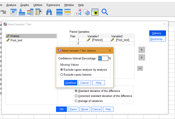 paired sample t test window spss