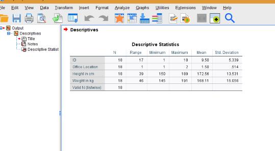 spss descriptive stats output